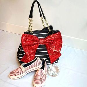 Betsey Johnson Red Sequin Bow Handbag